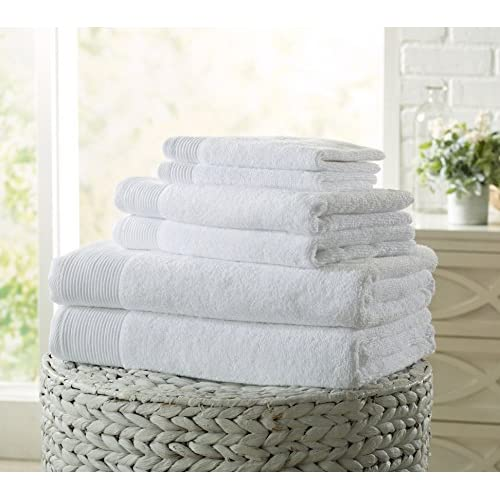 Nice Lavante Collection 6-Piece Luxury Hotel / Spa 100% Zero Twist Cotton Towel Set, 600 GSM. Includes Bath Towels, Hand Towels and Washcloths. By Home Fashion Designs Brand. (White)