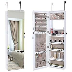Amazon.com: SONGMICS LED Jewelry Cabinet Lockable Wall ...