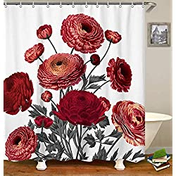 "Livilan Vintage Red Ranunculus Floral Fabric Shower Curtain Set 72"" x 72"" Decorative Waterproof Quick Dry Thick Polyester Fabric Bathroom Curtain"