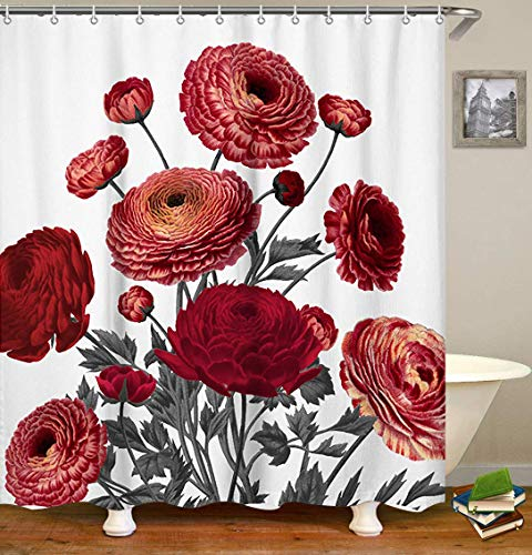 LIVILAN Vintage Red Floral Fabric Shower Curtain Set with 12 Hooks Decorative Waterproof Fabric Bathroom Curtain 72