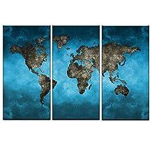 DVQ Art-Framed Global World Map Canvas Modern Abstract Blue World Map Wall Art HD Print Painting for Living Room Decor Ready to Hang 3 Pcs/Set (14Inchx28Inchx3PCS(35cmx70cmx3PCS))