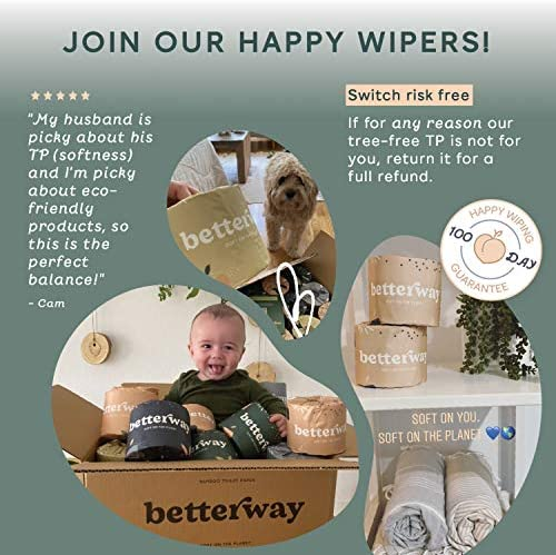 Betterway Bamboo Toilet Paper 3 PLY - Eco Friendly, Organic, Sustainable Toilet Tissue - Plastic Free & Compostable - Septic Safe & Biodegradable - 24 Double Rolls - 360 Sheets/Roll - FSC Certified