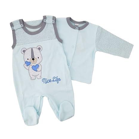 NUEVO 100% algodón bio Joven Juego | Camiseta Pelele oso Corazones Azul 56 62,