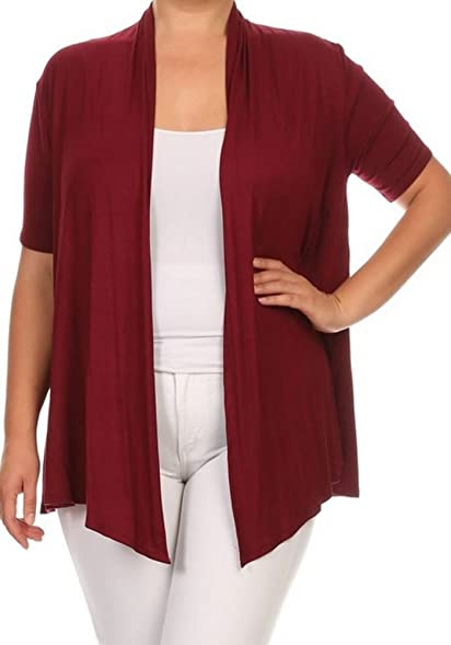 Women's Plus Size Open Draped Front Short Sleeve Cardigan Sweater ...