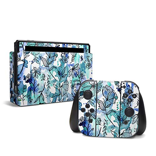 Blue Ink Floral - Decal Sticker Wrap - Compatible with Nintendo Switch from DecalGirl