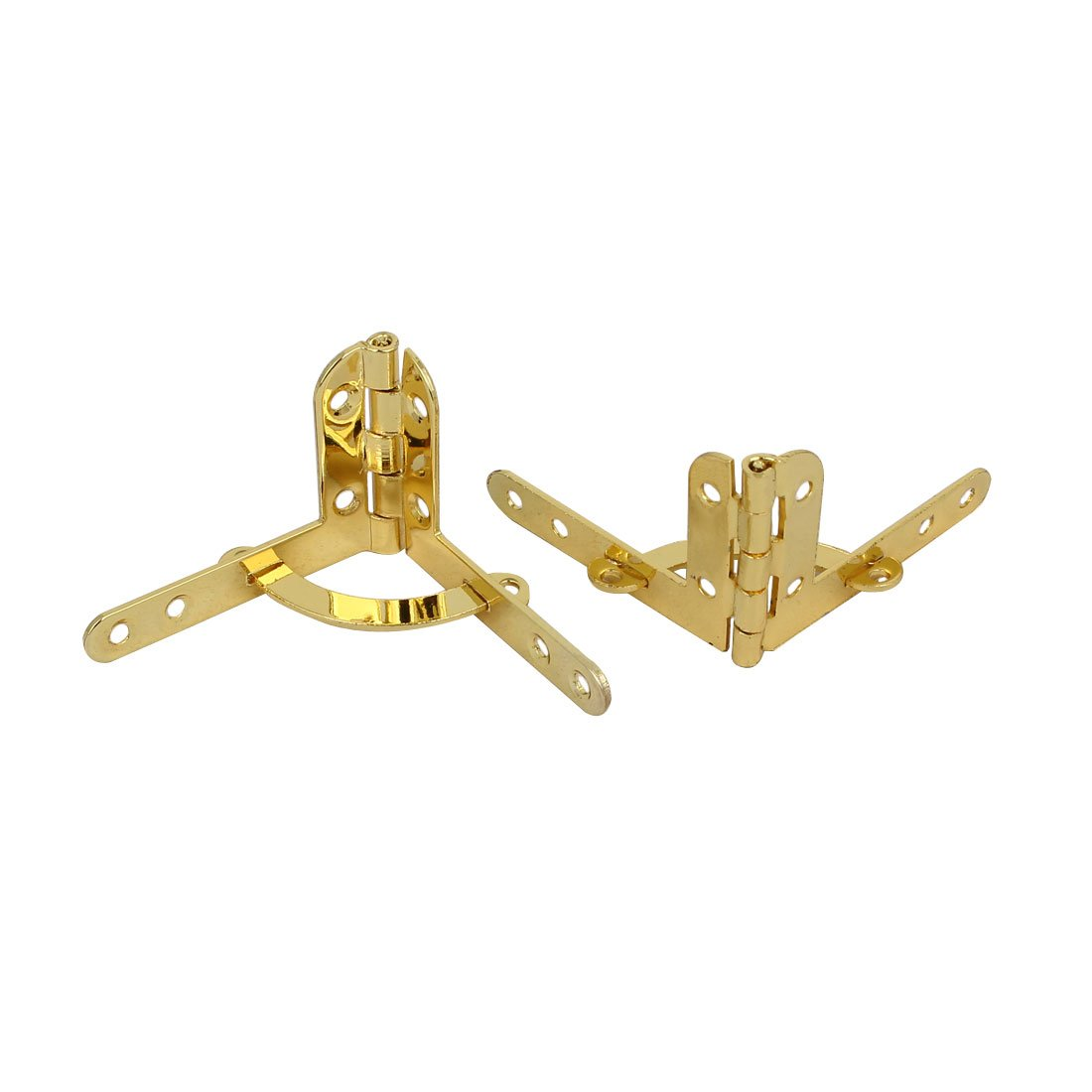 uxcell Jewelry Wine Box Wooden Case 90 Degree Support Spring Hinge Gold Tone 2pcs