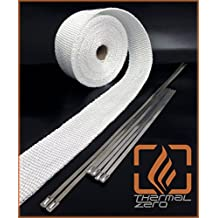 WHITE High Temperature Header Exhaust Pipe Insulation Wrap Kit: 1 Roll 2 INCH WIDE X 25 FEET LONG with Stainless Steel Zip Ties Kit - Thermal Zero - WT116225TK