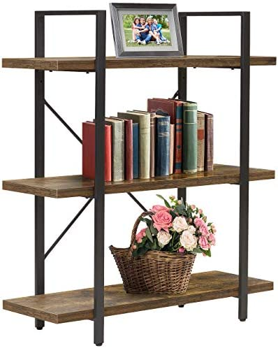 Sorbus Bookshelf 3 Tiers Open Vintage Bookcase Storage Organizer, Modern Industrial Style Bookshelves Furniture for Home Office, Wood Look Metal Frame 3-Tier, Retro Brown
