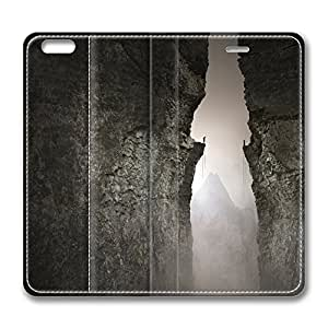 iPhone 6 Leather Case, Personalized Protective Flip Case Cover Between The Hills for New iPhone 6