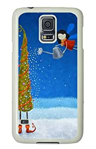 Samsung Galaxy S5 Case Cover - Tree Snowflakes Elf Greeting Cards Silicone Rubber Case Back Cover for Samsung Galaxy S5 - PC White