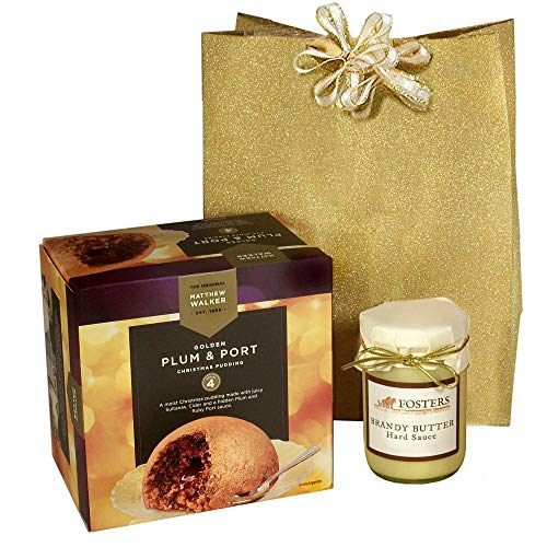 Matthew Walker Christmas Plum Pudding & Port Christmas Brandy Butter Gift Set - Happy New Years Ships the same business day before 2:00 PM Pacific Time -  Blue Moon Tea, plum-port-set