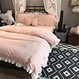Softta Vintage Ruffle Striped Bedding Set 100% Yarn Dyed Washed Cotton 3 pcs 1 Duvet Cover + 2 Pillowcases White and Pink Queen Size