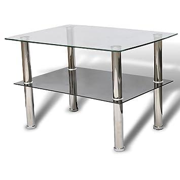 Vidaxl Table Basse 2 Etageres Verre Canape Table De Salon Table D