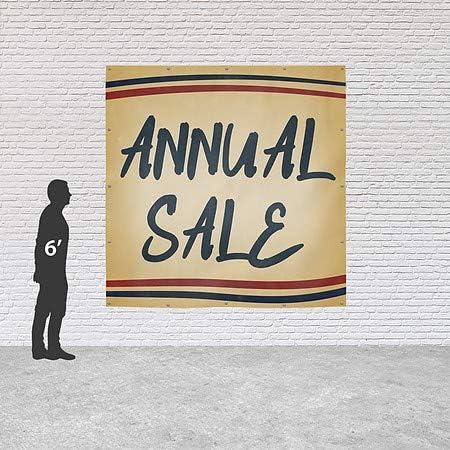 6x6 CGSignLab Annual Sale Nostalgia Stripes Heavy-Duty Outdoor Vinyl Banner