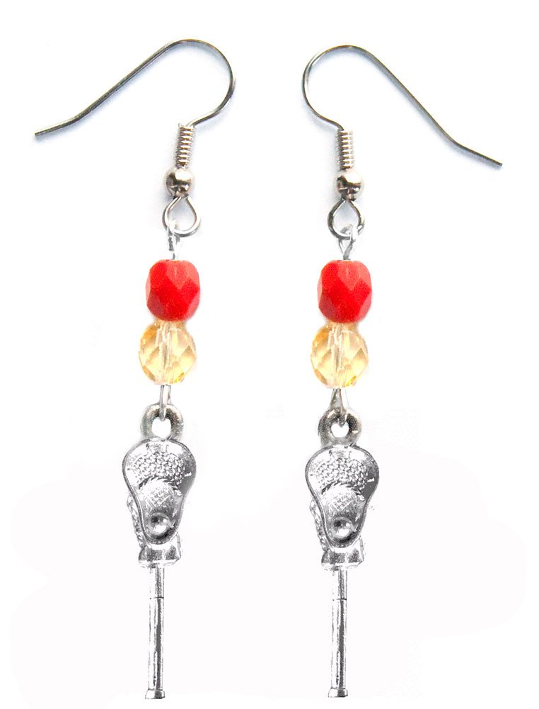 ''Lacrosse Stick & Ball'' Lacrosse Earrings (Team Colors Red & Gold)