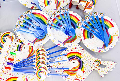 Unicorn Party Supplies - (152 PCS) All-in-One Rainbow Set: Plates, Utensils and Decorations Pack, Serves 10 People. Includes Banner, Hats, Bags, Invitations, Cups, Tablecloth
