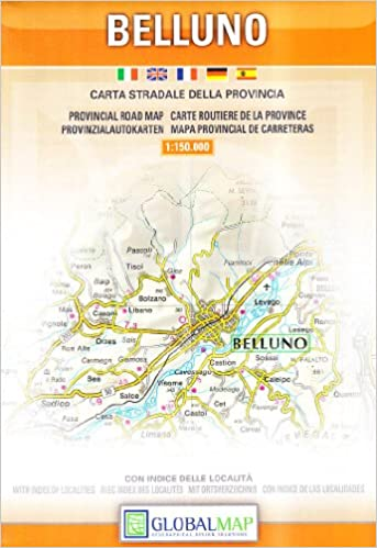 Provincial Map Of Italy.Belluno Veneto Italy Provincial Road Map English Spanish