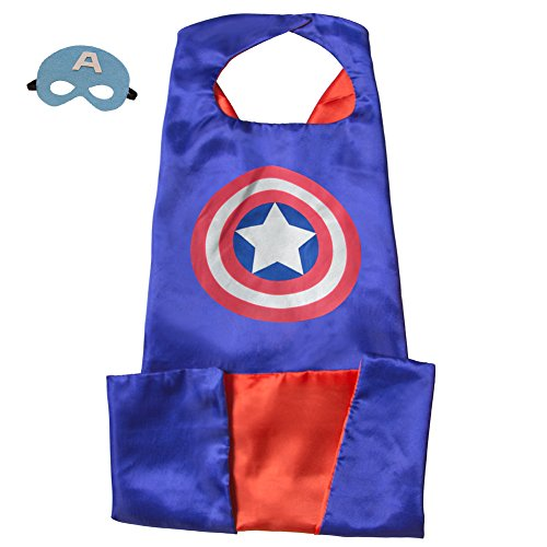 [Adult Superhero Capes And Masks 140 90 CM For Party Costumes Play With Kids (14090 CM, Captain] (Captain America Costumes For Adults)