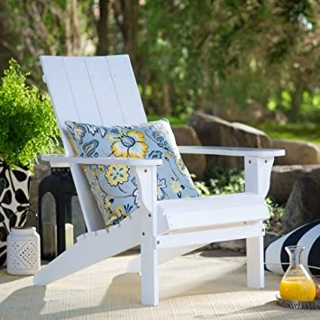 Portside Modern Adirondack Chair Constructed of Durable Eucalyptus Wood in  PU White Color 29W x 33D