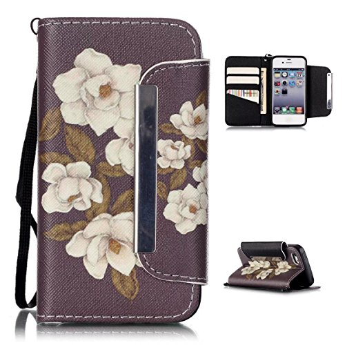 iPhone 5C Case,iPhone 5C Wallet Case,Kmety(TM) for iPhone 5C PU Leather 2in1 Case Flip Folio Magnetic Design[Built-in Credit Card Slots]with Painted Begonia Flowers Pattern