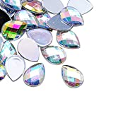 ARRICRAFT 1 Bag Acrylic Rhinestone Cabochons Flat Back Faceted Drop Pendants for DIY Craft Scrapbooking Jewelry Making, About 500pcs/bag