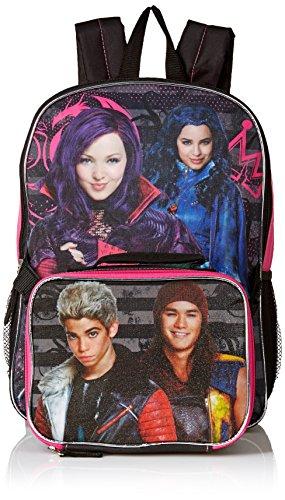 [Disney Girls' Descendants Backpack with Lunch Kit, Hot Pink/Black] (Monster High Kitty)