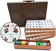 "Mose Cafolo Chinese Mahjong X-Large 144 Numbered Melamine Tiles 1.5"" Large Tile with Carrying Travel Case"
