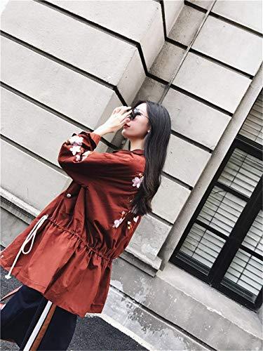 Abrigos Outwear Otoño con con Bordados Exteriores Solapa De Mujer Prendas Elegante Manga Chaquetas Cremallera Larga Rot Moda Modernas Cordón rOzRIrx