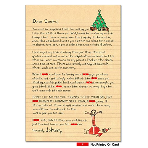 12 Boxed 'Dear Santa' Christmas Cards with Envelopes 4.63 x 6.75 inch, Funny Children's Letter to Santa Claus Holiday Notes, Happy Holidays with Adult Humor Christmas Cards B1087 -