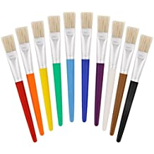 US Art Supply 10 Piece Large Flat Chubby Hog Bristle Children's Tempera and Artist Paint Brushes