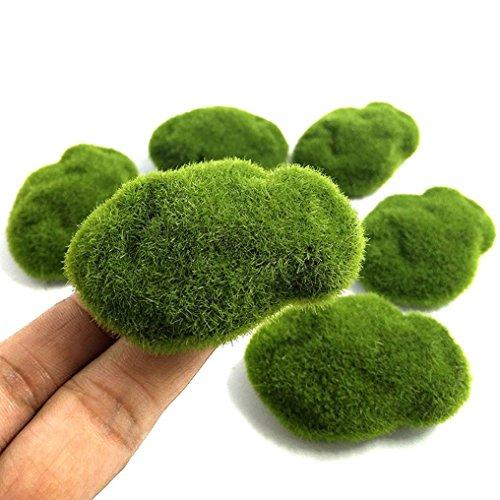 Khannika Fake Moss Decor, Green Moss Balls, Moss Aquarium Decorations, Decorative Moss Balls, Artificial Moss Rocks Faux Stones for Fairy Gardens, Terrariums and Crafting Etc. (8 Pcs)