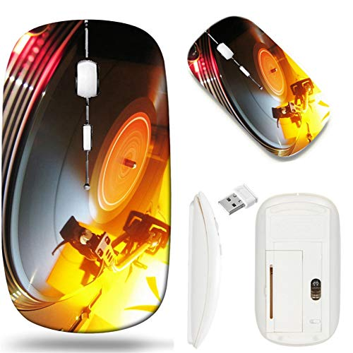 Wireless Mouse 2.4G White Base Travel Wireless Mice with USB Receiver, Noiseless and Silent Click with 1000 DPI for Notebook pc Laptop Computer MacBook Image of Vinyl Music Record Turntable Disco sou