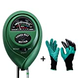 Diiker Soil Test kit, Soil pH meter Include 3-in-1 Moisture Tester Digital Tool for pH/Water/Light and Garden Genie Gloves, Testing for Gardening/Lawn/Plants, Indoor Outdoors(No Battery Needed)