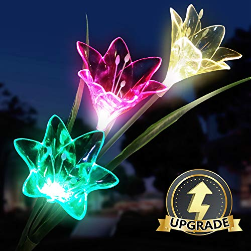Solar Garden Light Outdoor Solar Lily Light LED Multi-Color Landscape Lights Dusk to Dawn Auto On/Off for Courtyard Backyard Decorative Lights 1 - Path Light Landscape Leaves