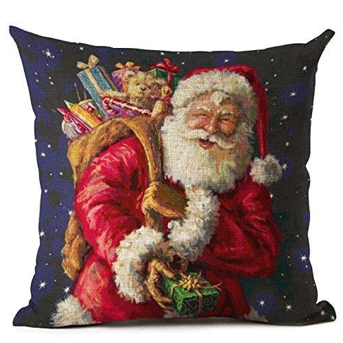 SODIAL(R) Funda de Almohada Navidad cojín Papá Noel patrón ...