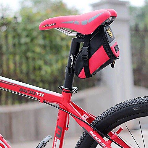 Sicher Reflex-Streifen Bike Fahrrad Sattelstütze Tasche Sattel-Beutel Sitztasche(Rose)