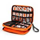 Electronics Organizer, Jelly Comb Electronic Accessories Double Layer Cable Organizer Bag Waterproof Travel Cable Storage Bag for Charging Cable, Cellphone, iPad (Up to 7.9)and More-(Grey and Orange)