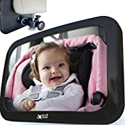 Safest Baby Car Mirror to View Infant in Rear Facing Car Seat | Clamp Onto Headrest Post | Crash Tested | Shatterproof | Extra Large | Bonus Side Window Baby Sunshade | Extra Adjustable Pivots Rotates