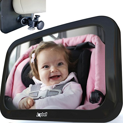 Safest Baby Car Mirror to View Infant in Rear Facing Car Seat | Clamp Onto Headrest Post | Crash Tested | Shatterproof | Extra Large | Bonus Side Window Baby Sunshade | Extra Adjustable Pivots Rotates Side Acrylic Window