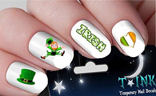 Irish St. Patricks Day Green Shamrock Leprechaul Flag Decals nail art design set assorted (Irish Flag Tattoos)