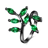Romantic Fate 18K Black Gun Plated Beauty Luxuriant Foliage Leaf Shape Lady Titanium Steel Ring Green 7#