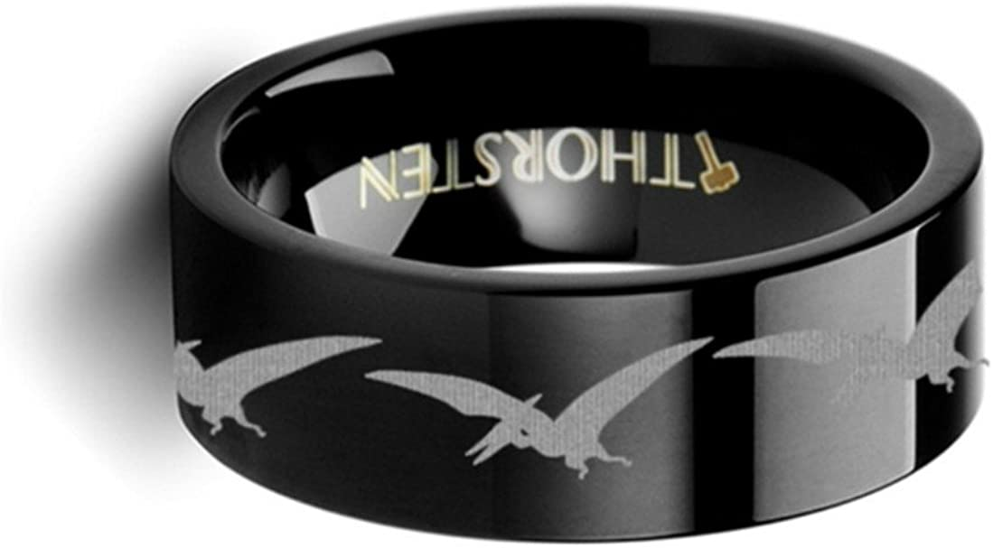 Thorsten Dinosaur Rings Teradactyl Prehistoric Paleo Inside Engraved Flat Black Tungsten Ring 8mm Wide Wedding Band with Custom Inside Engraved Personalized from Roy Rose Jewelry