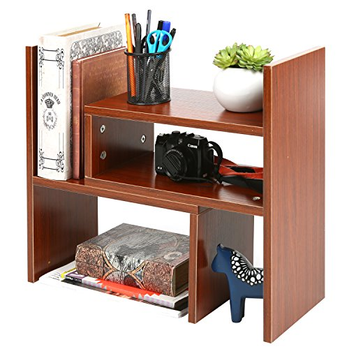 MyGift Compartment Storage Desktop Bookshelf