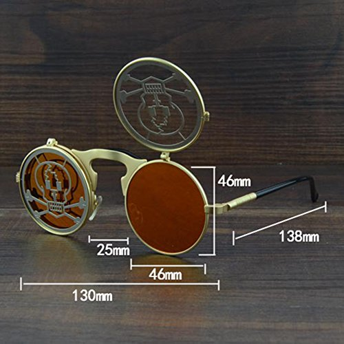 Punk Gold Homme Gothic ronde Vintage Shades Steam Sunglasses Lunettes Clamshell en m¨¦tal Skull personnalit¨¦ hibote Femme 16qaw5R
