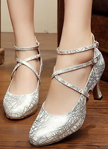CFP - Zapatillas de danza para mujer Plateado plata P2q6fRP1