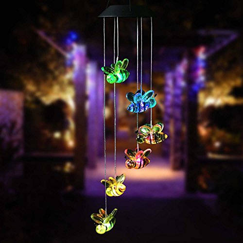 Amazing Wind Chime,Color Changing Bee Solar Wind Mobile Chimes Lights Hanging Wind Bell Light Night Hanging lamp for Patio Garden Lighting Home Decoration with Spinning Hook by Wanmingtek