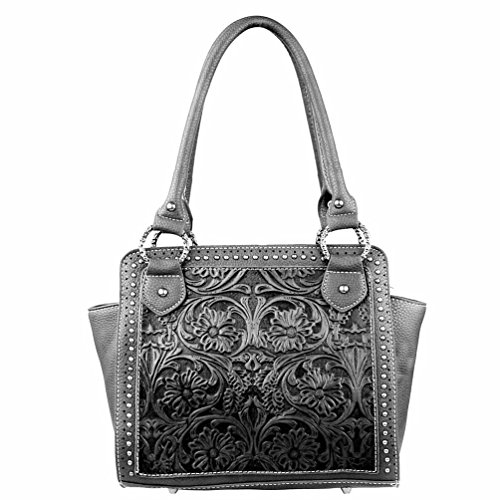 - Trinity Ranch by Montana West Partial Genuine Leather Tooled Design Collection Handbag (Black)