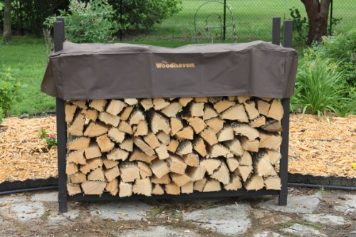 The Woodhaven 5ft Brown Firewood Rack with Cover by The Woodhaven