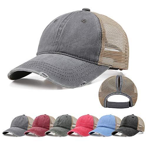 Doannotium Ponytail Baseball Cap Retro Washed Cotton Visor Dad Hat Adjustable Trucker Ponycaps (Grey) ()