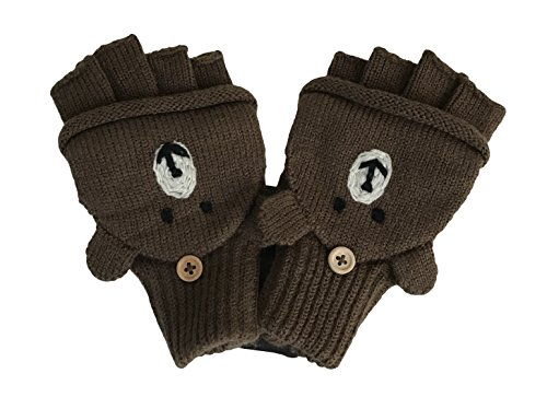 Price comparison product image Boys' and Girls' fall & Winter Solid Knitted Half Finger Mittens ,Typing & Riding Gloves -Brown Bear -Size M